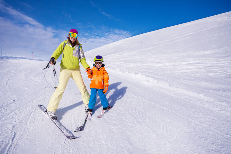 Child learning to ski